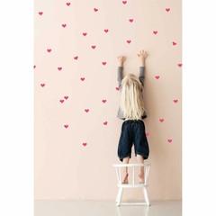Ferm Living muurstickers hartjes Mini Hearts neon roze