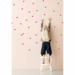 Ferm Living wall stickers Mini Hearts neon pink