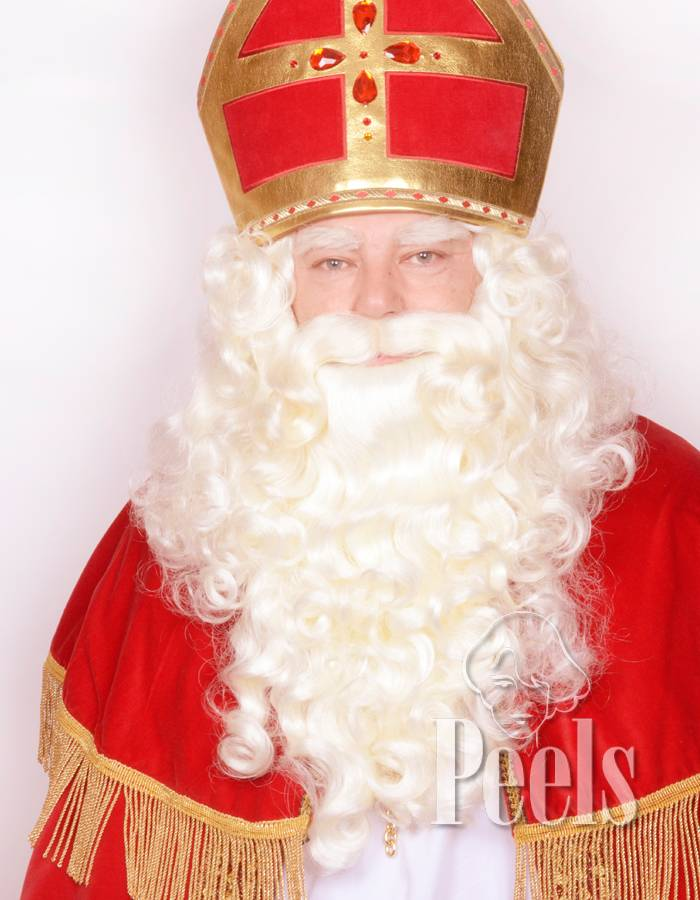 Peels haarmode Sint baard en pruik kunsthaar wit