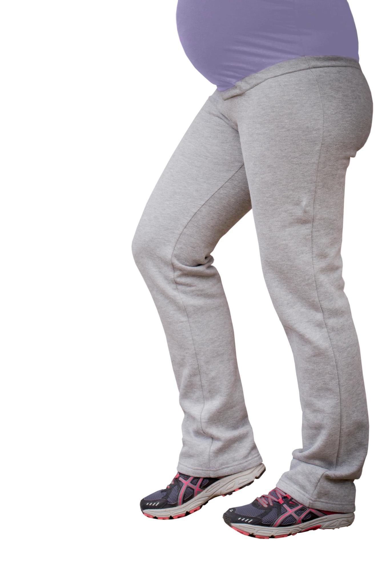yogabroek grijs met paarse band