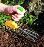 Kort tuingereedschap: vork, schep en/of hark