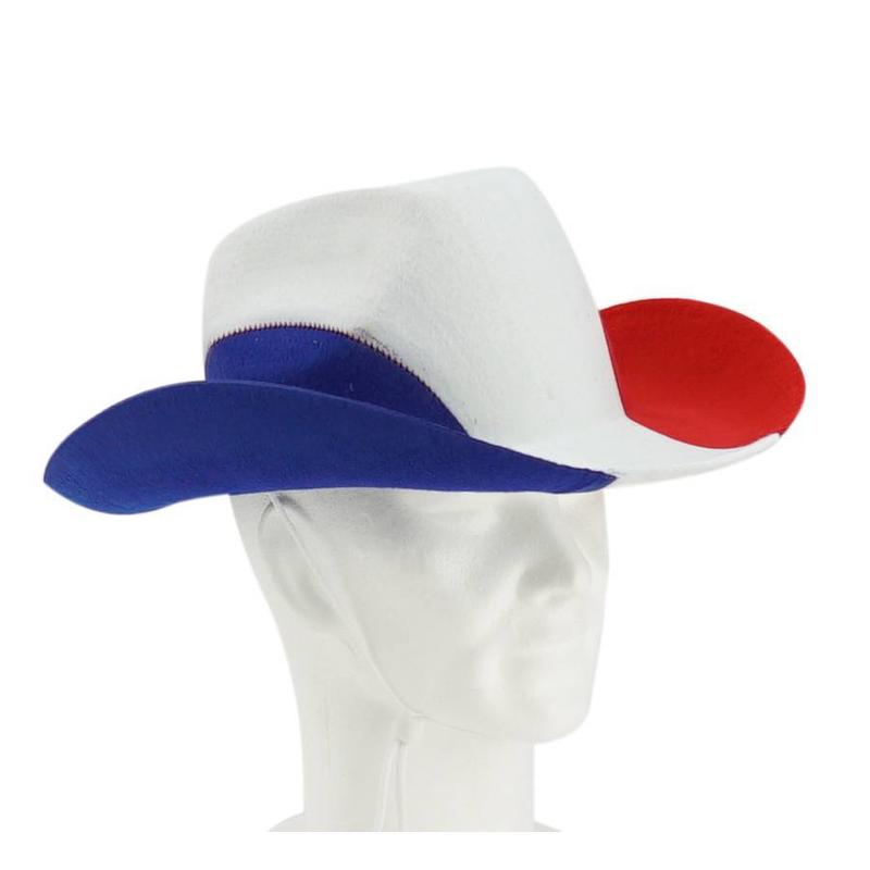 Chapeau de cowboy bleu-blanc-rouge