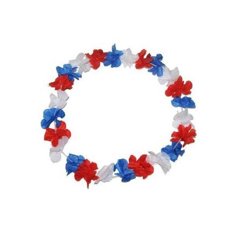 Acheter collier fleurs bleu blanc rouge - Fleur bleu blanc rouge ...