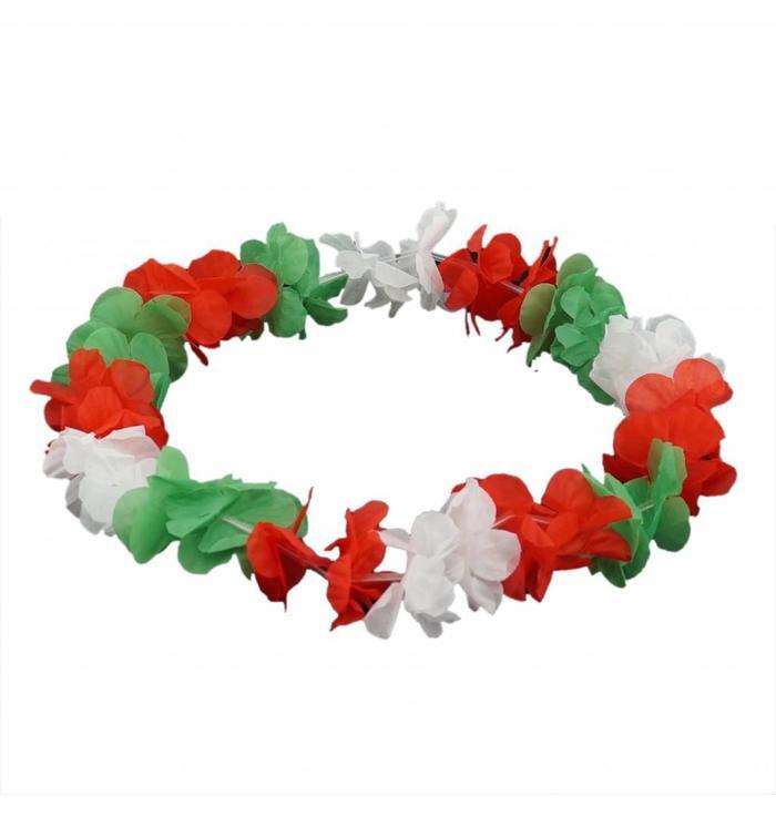 Collier à fleurs vert-blanc-rouge