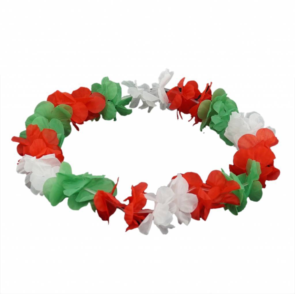 Buy Hawaiian Flower Necklace Green White Red