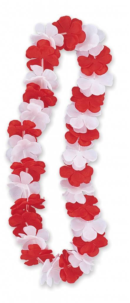 Hawaiian necklace red-white