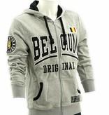 Grijze hoodie Belgium met rits