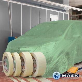 @Mask 1 rol afdekfolie PE van 3,8 x 300 meter met 5 rollen Masking Tape 60º wit (Radex 19cm x 50m)