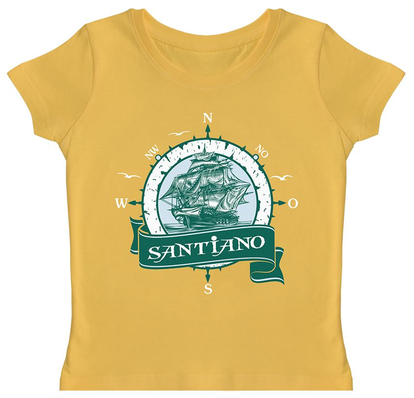 "Kids t-shirt yellow ""sailing-ship"""
