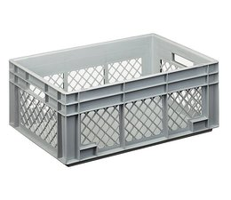 Eurocontainer 600x400x236 mm perforated side walls, heavy duty, food proved plastic