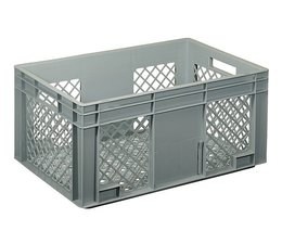 Eurocontainer 600x400x280 mm perforated walls and bottom, heavy duty, food proved plastic