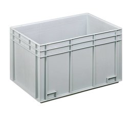 Eurocontainer 600x400x340 mm solid walls and bottom, heavy duty, food proved plastic