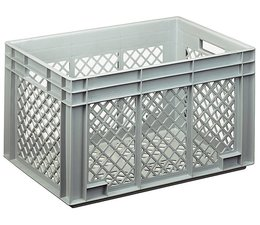 Eurocontainer 600x400x338 mm perforated walls and bottom, heavy duty, food proved plastic