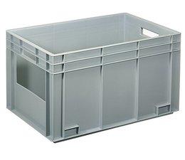 Eurobehälter 600x400x340 mm offene Frontseite, geeignet für schwere Lasten und Lebensmittekontakt