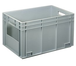 Eurocontainer 600x400x340 mm solid wall with open front, heavy duty, food proved plastic