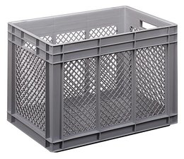Eurobehälter 600x400x416 mm durchbrochene Wände und Boden, geeignet für schwere Lasten und Lebensmittekontakt