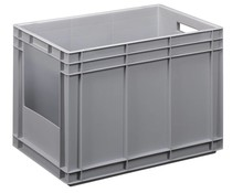 Euro container 600x400x420 solid wall with open front