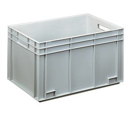 Eurocontainer 600x400x338 mm solid and reinforced base, heavy duty, food proved plastic