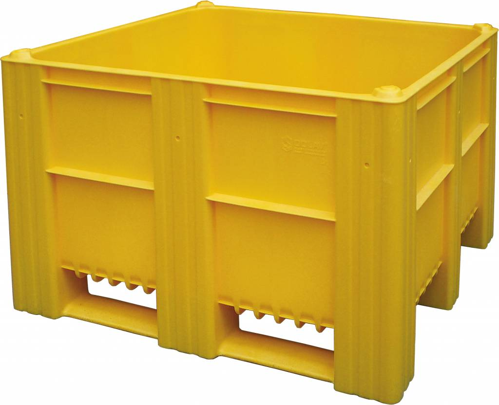 plastic box pallet 1200x1000x740 620l yellow solid genteso. Black Bedroom Furniture Sets. Home Design Ideas