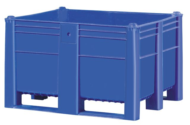 Plastic Box Pallet 1200x1000x740 600l Blue Solid Genteso