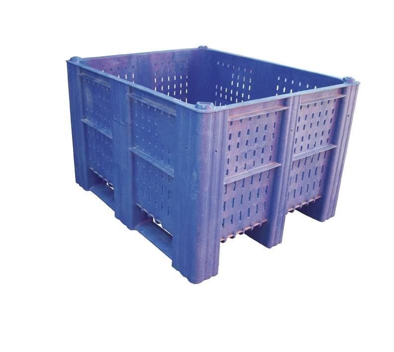 Plastic Box Pallet 1200x1000x740 620l Blue Perforated