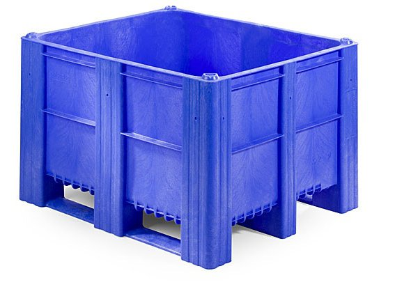 Plastic Box Pallet 1200x1000x740 620l Blue Solid Genteso