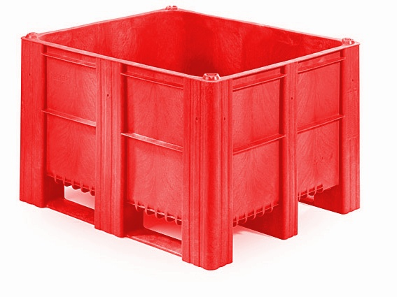 Plastic Box Pallet 1200x1000x740 620l Red Solid Genteso