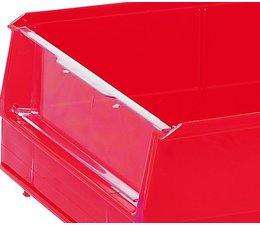Hinged transparent front cover for storage bins BISB2Z 10 pieces