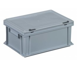 Plastic container with integrated lid 400x300x183, Grey