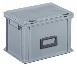 Plastic cases with cover lid and handles, 24L, 400x300x283