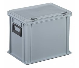 Plastic cases with cover lid and 2 handles, 28,5L, 400x300x333