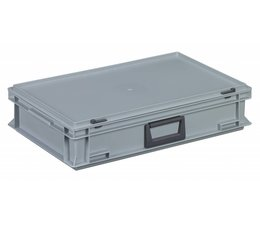 Plastic cases with cover lid and handles, 22.7 L, 600X400x133 mm