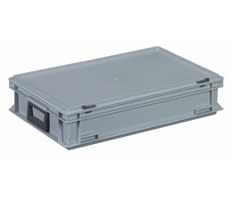 Plastic cases with cover lid and two handles, 22.7 L, 600X400x133 mm