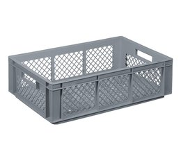 Crate for glasses 600x400x170 mm perforated walls and bottom, food proved plastic