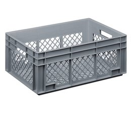 Crate for glasses 600x400x236 mm perforated walls and bottom, food proved plastic
