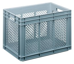 Crate for glasses 600x400x416 mm perforated walls and bottom, food proved plastic
