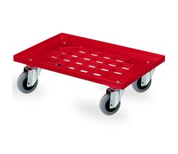 Transport trolley 620x420x170mm with 4 rubber castors perforated deck