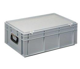 Kunststofkoffer Stapelbehälter mit Deckel und zwei Handgriffen 42,4 L, 600X400x233 mm
