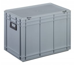 Plastic cases with cover lid and two handles, 79,9 L, 600X400x433 mm