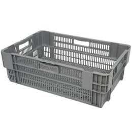 Stack nest container 600x400x205 perforated, 4 grips 38 Liter