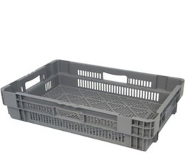 Stack nest container 600x400x144 perforated, 4 grips 26 Liter