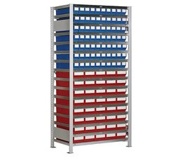 Boltless shelving with 110 rack boxes