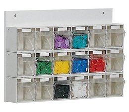 Parts storage system 18 boxes • wooden board • wall fixing