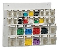 Parts storage system 30 boxes • wooden board • wall fixing