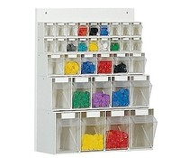 Parts storage system 33 boxes • wooden board • wall fixing
