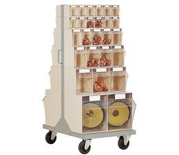 Parts storage system • mobile • with 52 clear boxes