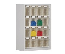 Parts storage cabinet with 16 clear boxes
