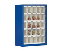 Parts storage cabinet with 25 clear boxes type BISTS5
