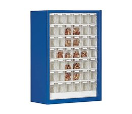 Parts storage cabinet with 42 clear boxes