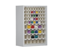 Parts storage cabinet with 69 clear boxes • 910 mm high
